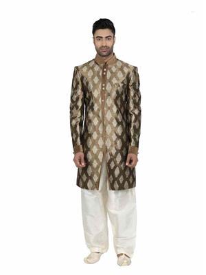 Fashion Curries Fc-206  Brown Jacquard Indowestern Wear