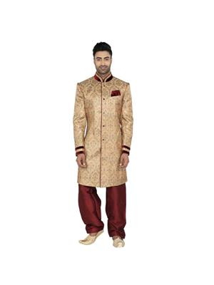 Fashion Curries Fc-245  Beige Brocade Indowestern Wear