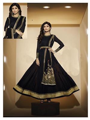Stylish Fashion FFKARMA-4505 Black Women Anarkali Suit