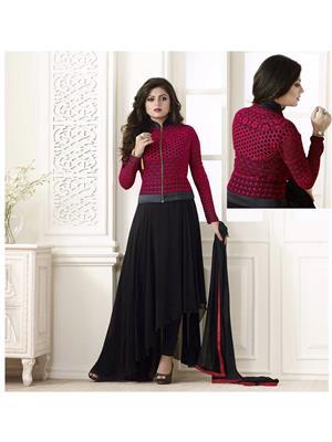 Stylish Fashion FFLT-81003 Red-Black Women Anarkali Suit