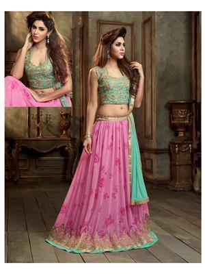 Stylish Fashion FFMASKEEN-1001 Pink-Sky Women Anarkali Suit