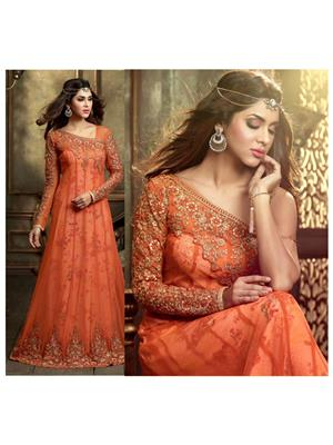 Stylish Fashion FFMASKEEN-1003 Orange Women Anarkali Suit