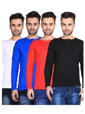 Ave-Fg-4Cm-Ht-Blk-Rd-Rb-Wh Multicolored Men T-Shirt Set Of 4