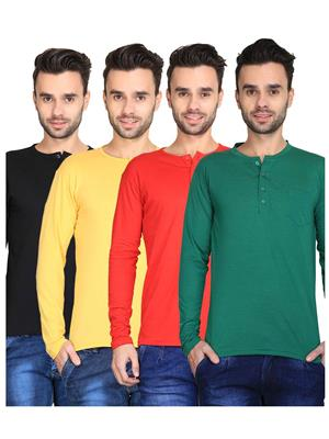 Ave-Fg-4Cm-Ht-Dg-Rd-Yl-Blk Multicolored Men T-Shirt Set Of 4