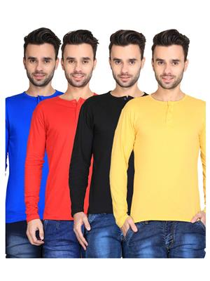 Ave-Fg-4Cm-Ht-Yl-Blk-Rd-Rb Multicolored Men T-Shirt Set Of 4
