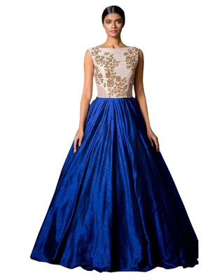 Fastkharidi Fkfbg011 Blue-White Women Gown