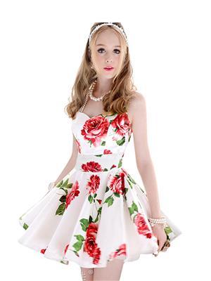 Fastkharidi Fkfbkt024 White-Red Women Dresses