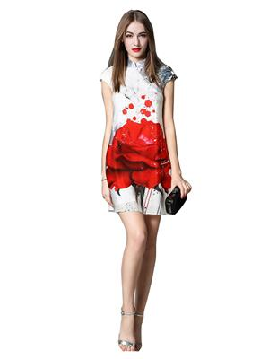 Fastkharidi Fkfbkt045 White-Red Women Dresses