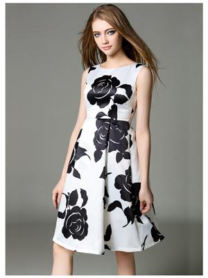 Fastkharidi FKFBKT059 Black-White Women Dresses