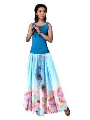 Fastkharidi Fkfbst013 Sky Blue Women Skirt