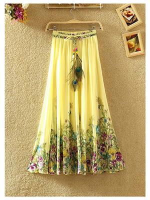 Fastkharidi FKFBST015 Yellow Women Skirt