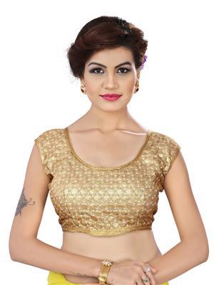 Fastkharidi Fkkbb010 Golden Women Blouse Un-Stitched