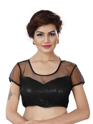 Fastkharidi Fkkbb014 Black Women Blouse Un-Stitched