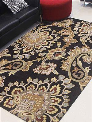 Royzez Handmade Woollen Rug Black K00151