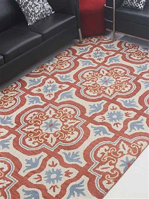 Royzez Handmade Woollen Rug Red Beige K00230