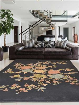 Royzez Handmade Woollen Rug Black K33005153