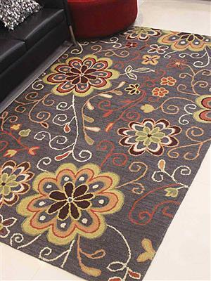 Royzez Handmade Woollen Rug Charcoal K00656
