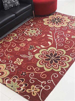 Royzez Handmade Woollen Rug Red K00656