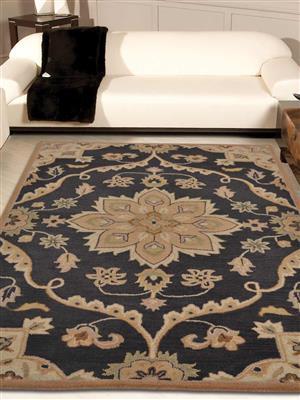 Royzez Handmade Woollen Rug Charcoal K00687