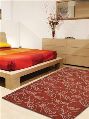 Royzez Handmade Woollen Rug Red Beige K00726