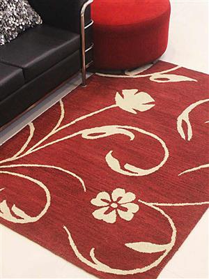 Royzez Handmade Woollen Rug Red Beige K00733