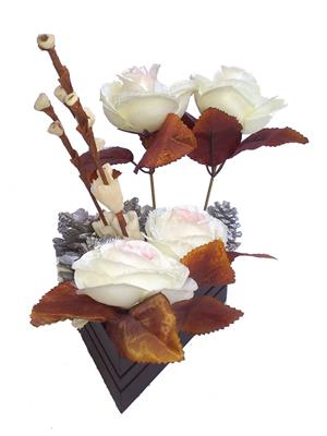 Floral Expressions White Roses Artificial Flowers With Vase