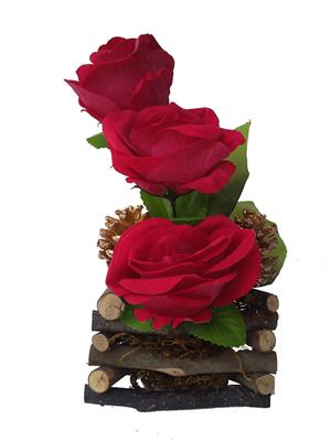 Floral Expressions Red Roses Artificial Flowers With Vase