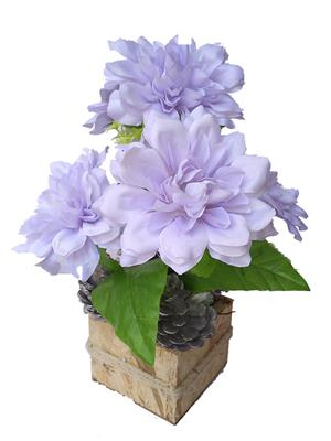 Floral Expressions Light Purple Dahlia Artificial Flowers With Vase