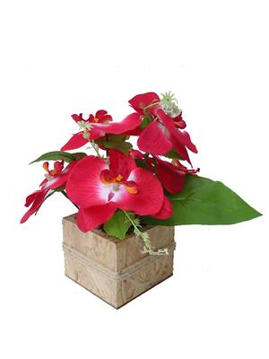 Floral Expressions Red Venda Orchids Artificial Flowers With Vase