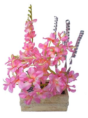Floral Expressions Pink Orchids Artificial Flowers With Vase