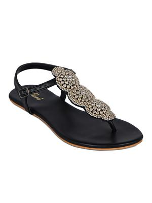 Flora FR-4221-01 Black Women Sandal