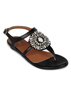 Flora FR-4260-01 Black Women Sandal