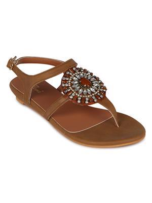 Flora FR-4260-07 Tan Women Sandal
