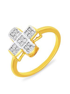 Mahi Fashion Jewellery Spiritual Cross White Stone Finger Ring