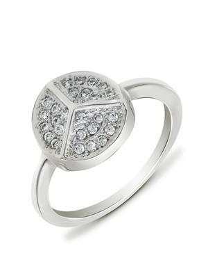 Mahi Fashion Jewellery Peace Round Grey Stone Finger Ring