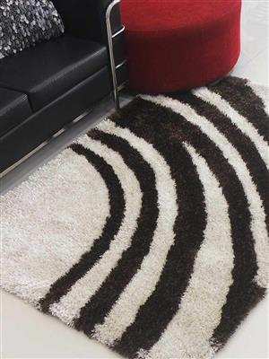 Royzez Handmade Polyester Shaggy Rug Ivory Brown  K00023
