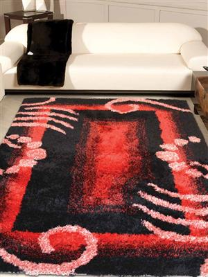 Royzez Handmade Polyester Shaggy Rug Red Black K00026