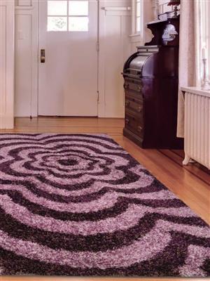 Royzez Handmade Polyester Shaggy Rug Purple K00042