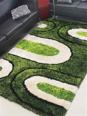 Royzez Handmade Polyester Shaggy Rug Green Beige K00009