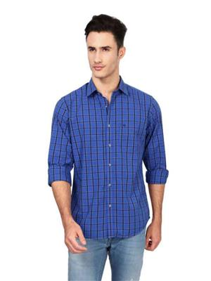 Find Stuff FS17 Blue Checkered Men Shirt Fabric