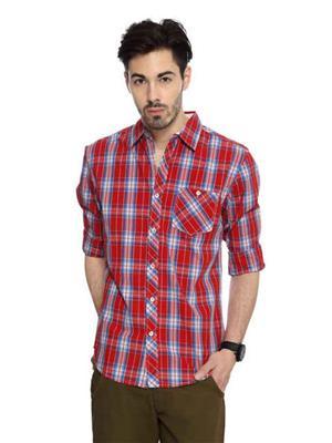Find Stuff FS7 Red Blue Checkered Men Shirt Fabric