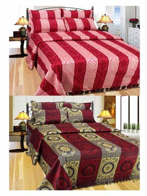 Furnishing Zone Fzbcab0610 Multicolored 2 Bed Cover With 4 Pillow Cover