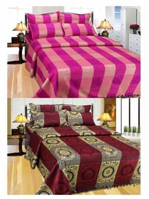 Furnishing Zone Fzbcab1310 Multicolored 2 Bed Cover With 4 Pillow Cover