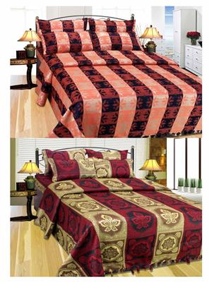 Furnishing Zone Fzbcab1409 Multicolored 2 Bed Cover With 4 Pillow Cover