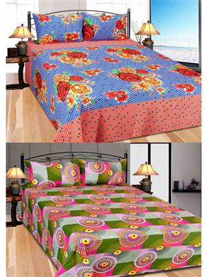 Furnishing Zone Fzbcrt0120 Multicolored Double Bedsheet Combo Pack