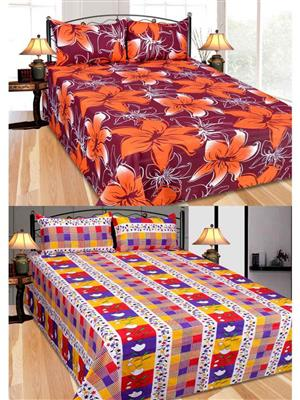 Furnishing Zone Fzbcrt0312 Multicolored Double Bedsheet Combo Pack