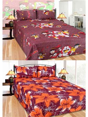 Furnishing Zone Fzbcrt0323 Multicolored Double Bedsheet Combo Pack