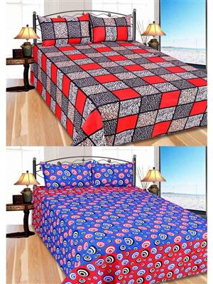 Furnishing Zone Fzbcrt0905 Multicolored Double Bedsheet Combo Pack
