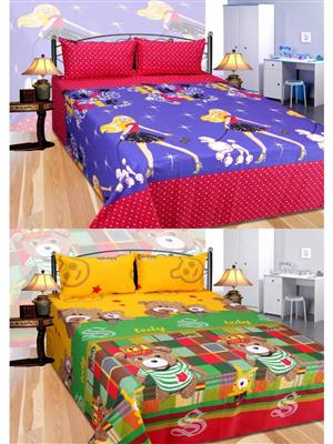 Furnishing Zone Fzbcrt1416 Multicolored Double Bedsheet Combo Pack