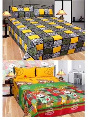 Furnishing Zone Fzbcrt2514 Multicolored Double Bedsheet Combo Pack
